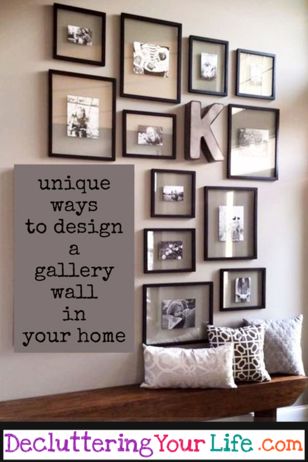 DIY Gallery Wall Ideas and Accent Wall Layouts for Family Photos and Pictures. Accent Wall Ideas - so many cute and unique accent wall ideas for all color schemes and rooms. Living room, bedroom, nursery, dining room, bathroom, entryway, kitchen, home office and many more creative cheap and easy accent wall ideas. My favorite easy home decor idea!