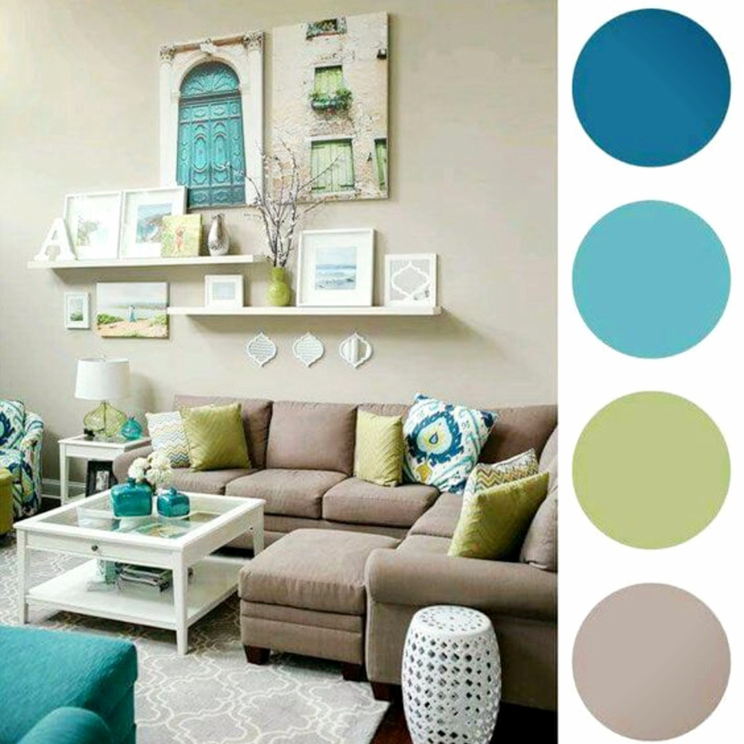 Gorgeous gallery wall idea with pops of color and floating shelves in this neutral living room