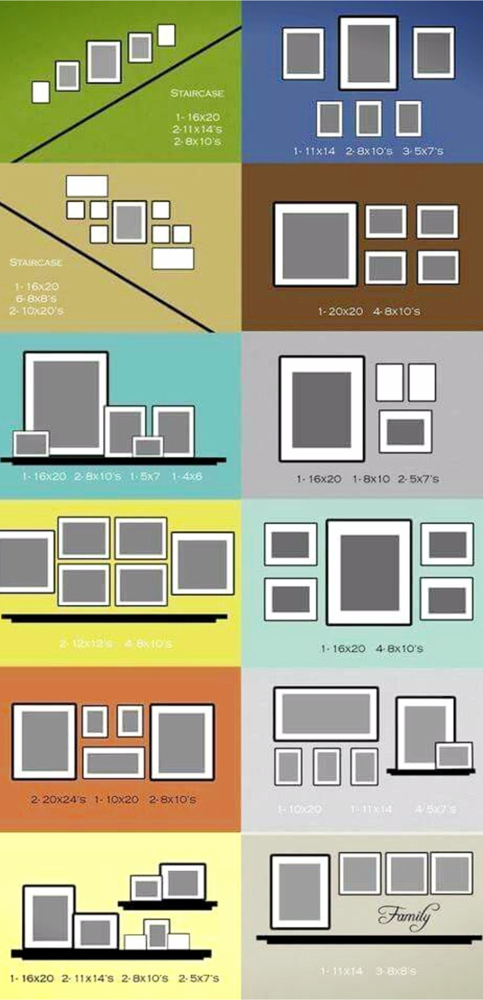 Gallery wall layout ideas for pictures, family photos and decor items to hang on your focus display wall in your home