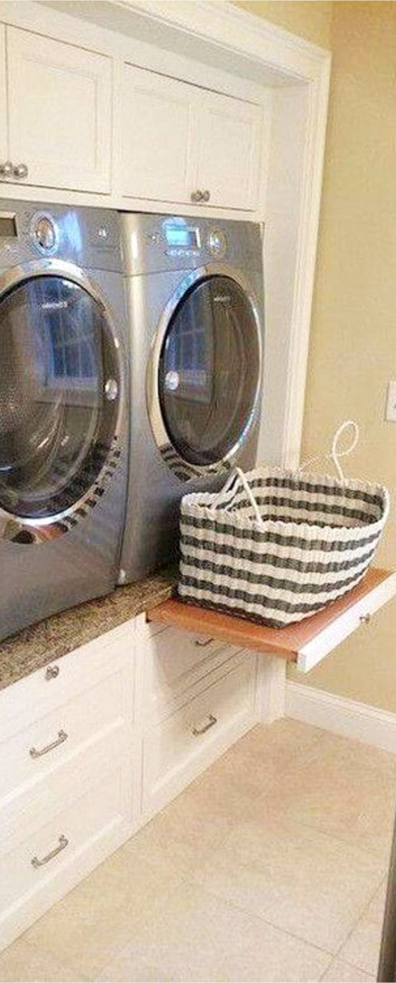 I love this idea to get more space to work in a small laundry room.