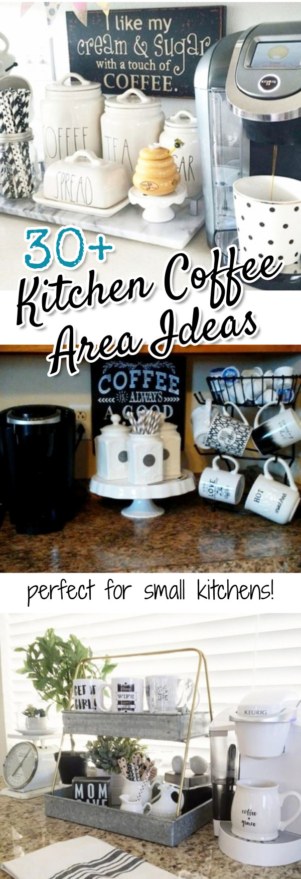 Gorgeous Kitchen Coffee Area Ideas we LOVE!  Perfect ideas for small kitchens, apartment kitchens, condo or lakehouse kitchens - and even as a dorm room coffee bar set up #homedecorideas #diyhomedecor
