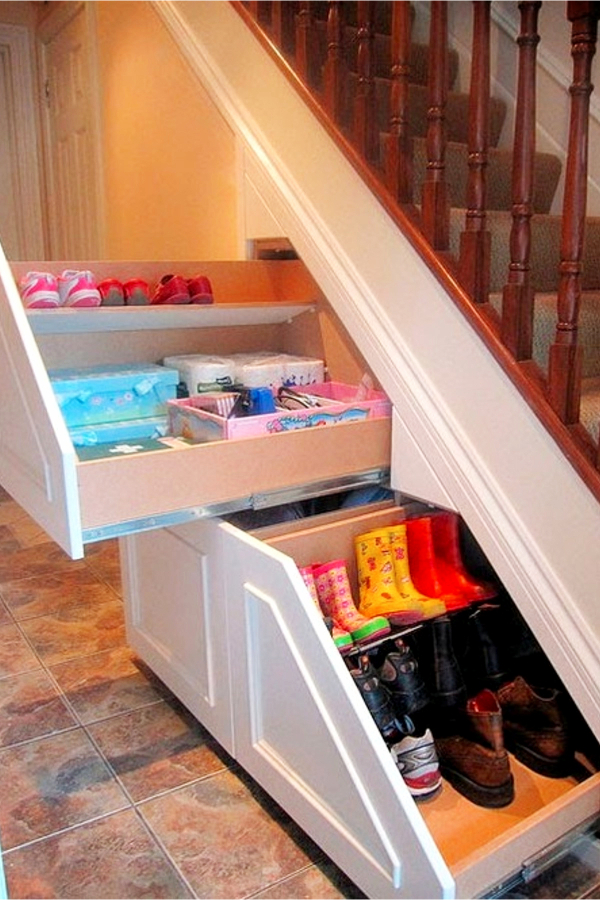 Under stair storage ideas - DIY drawers for more storage spaces under the stairs