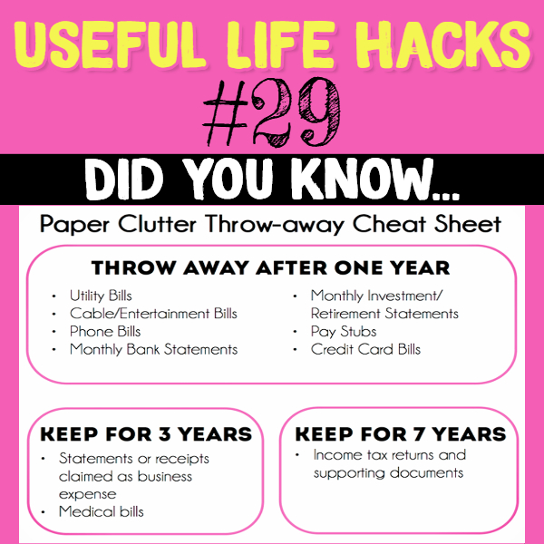 Paper clutter tips and tricks for keeping important documents, paperwork and bills. Useful life hacks to make life easier - household hacks... MIND BLOWN!