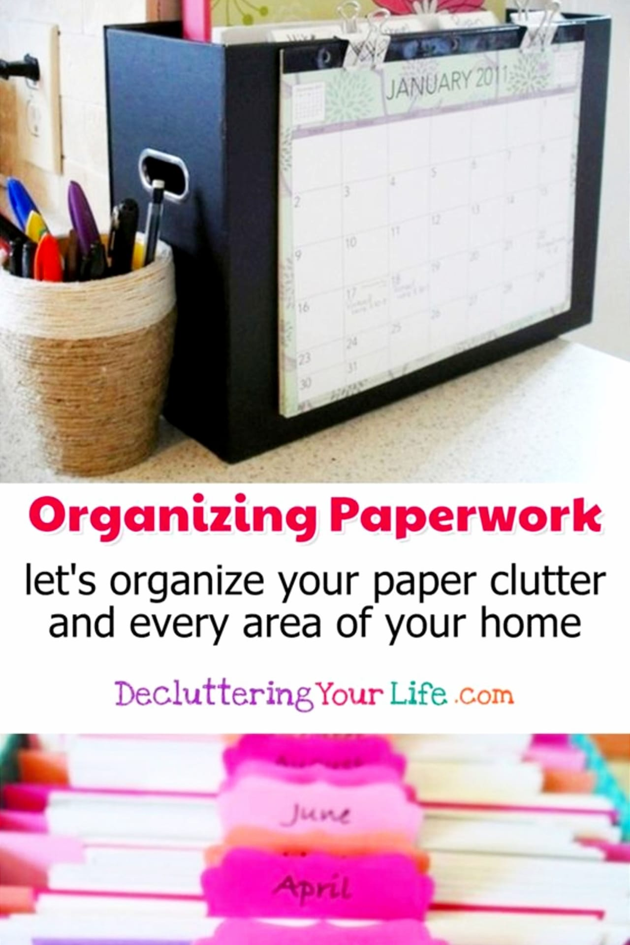 Paperwork Storage and Organization Hacks - When it comes to reducing paper clutter in your home, you need to come up with a simple paperwork storage and organization system so you don't end up with all those PILES of mail, bills, magazines, etc ALL over your home.
