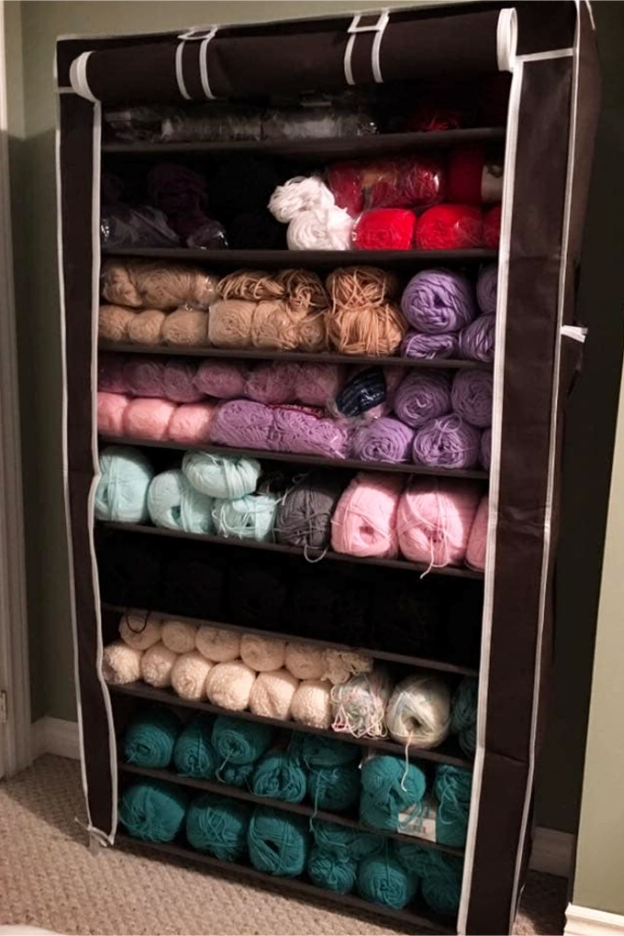 Craft room organization on a budget - organizing yarn - GENIUS way to organize my yarn in my craft room /  sewing room!  I need one of these portable organizer shelving systems - also HIDES my yarn and craft supplies!