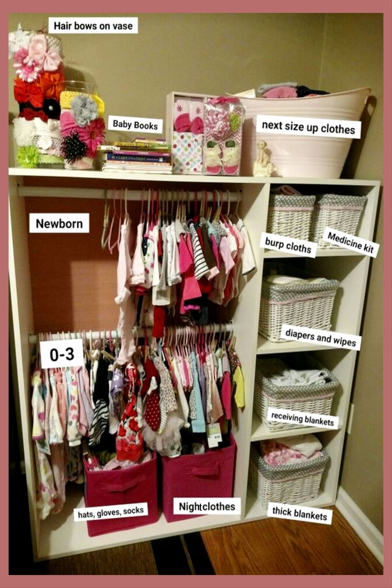 Creative storage solutions for a small baby room without a closet - no closet solutions and more brillain organization ideas for the home in the nursery