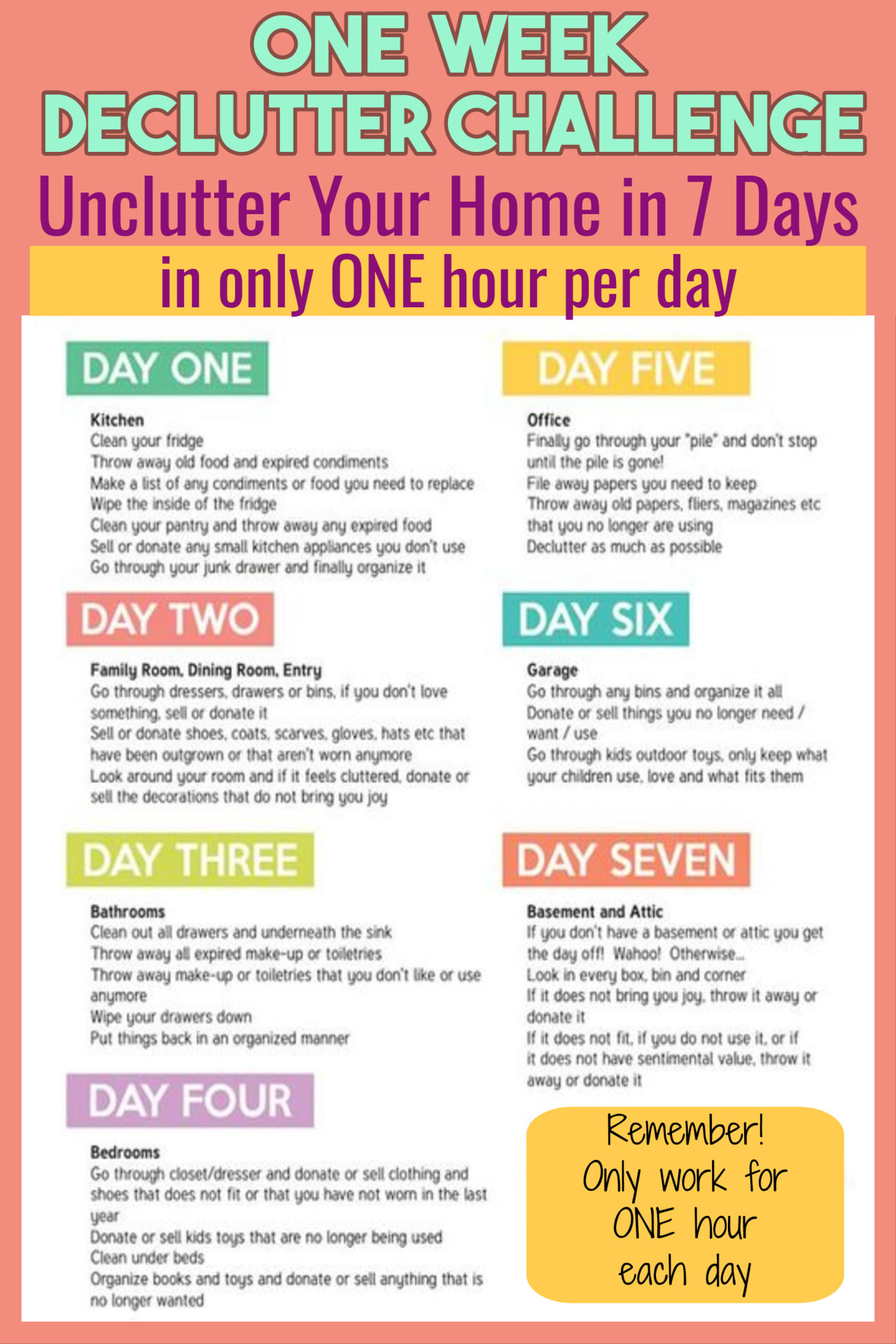Declutter entire house free printable, good ideas and organizing tips. How about a clean house in one hour a day? These daily chores to keep house clean decluttered and organized without getting overwhelmed are great tips and check lists for busy moms who want neat and tidy households.  Declutter and organize printables for a one week declutter challenge to go from cluttered mess to organized success.