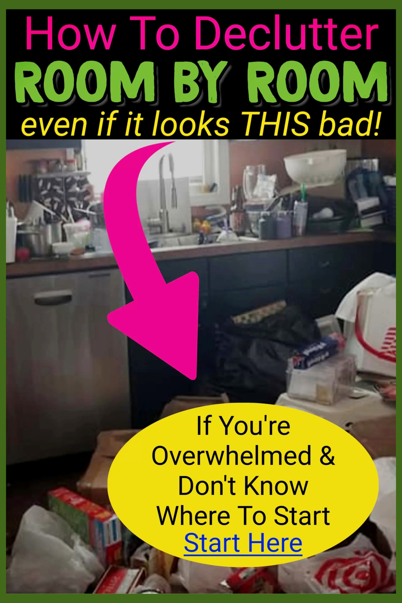 Declutter kitchen clutter and every room in your home - how to declutter and organized if feeling overwhelmed by clutter - kitchen clutter solutions