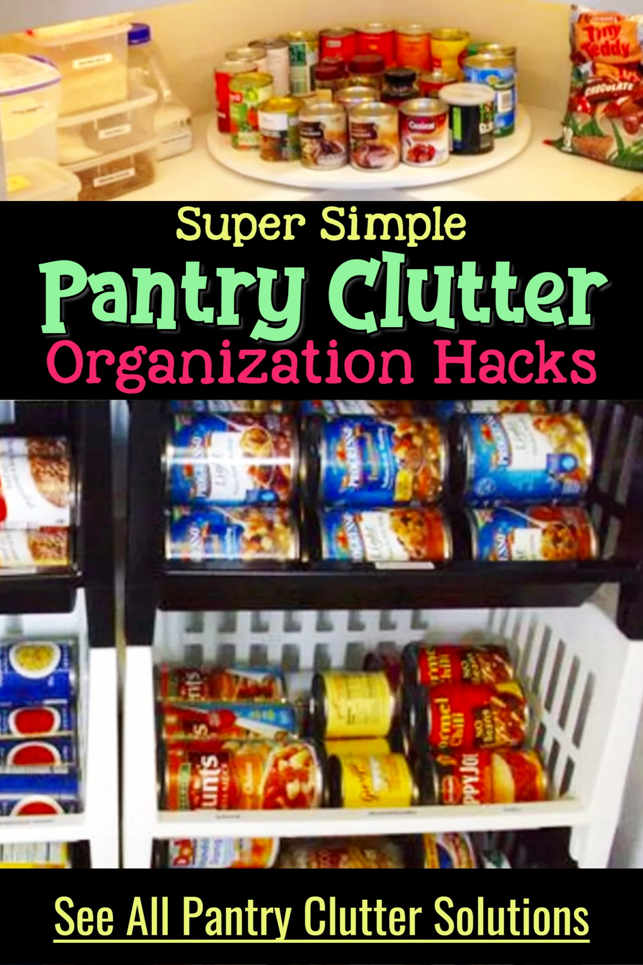 Kitchen clutter SOLUTIONS!  Declutter your kitchen pantry with these creative storage solutions for small spaces to declutter and organize your kitchen pantry even if you're overwhelmed or organizing on a budget