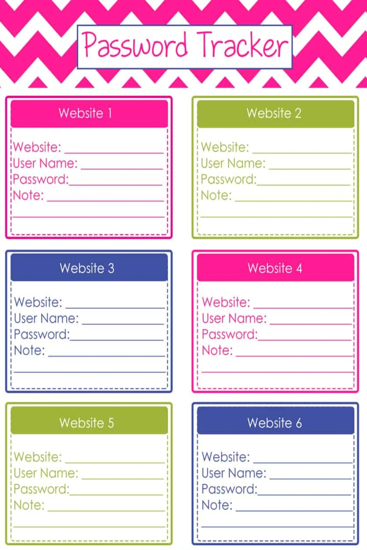 Free Password Trackers and Password Keeper Printable PDFs - how to organize website passwords on paper with a printable password keeper to make a DIY password journal or password organizer binder - it's like your own password vault to track all your online passwords!  Download your free printable password organizers worksheets to make a DIY password book with these free home organizing printables