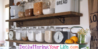 Declutter Your Kitchen –  DIY Shelves To Organize a Country Farmhouse Kitchen on a Budget
