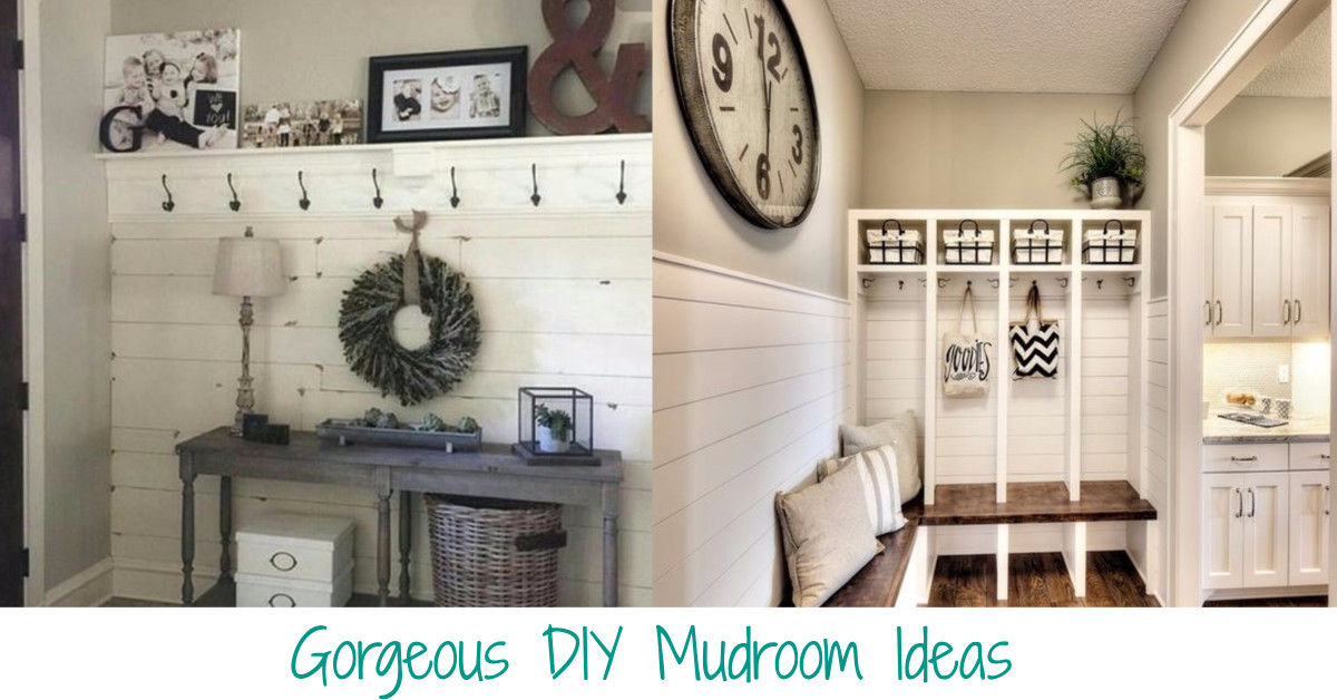 beautiful DIY mudroom ideas, layouts and designs to help declutter your home and keep all the STUFF organized.