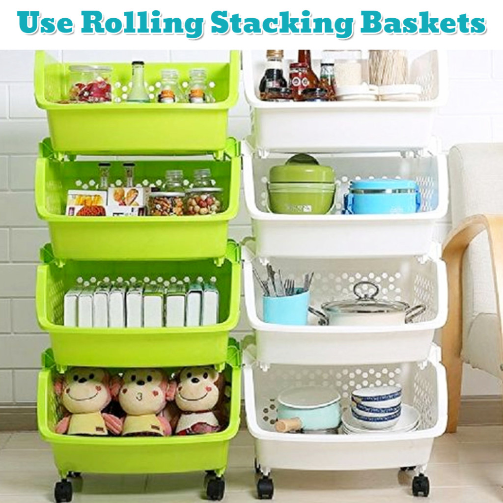 Cheap rolling baskets for more space and more organization - Getting Organized - 50+ Easy DIY organization Ideas To Help Get Organized #getorganized #gettingorganized #organizationideasforthehome #diyhomedecor #organizingideas #cleaninghacks #lifehacks #diyideas