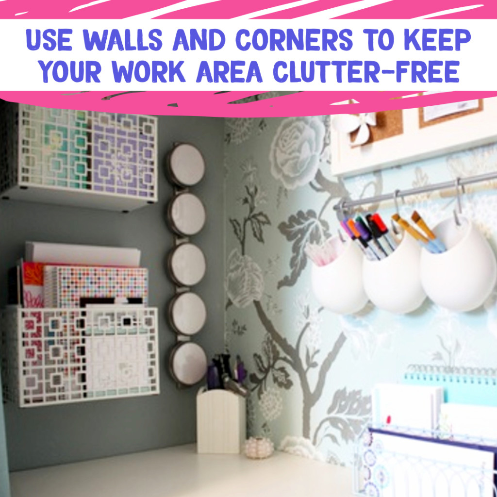 Desk Organization and Home Office Organization ideas - if you have limited storage space in your home office or desk area, hang things on walls to keep desk area clutter free