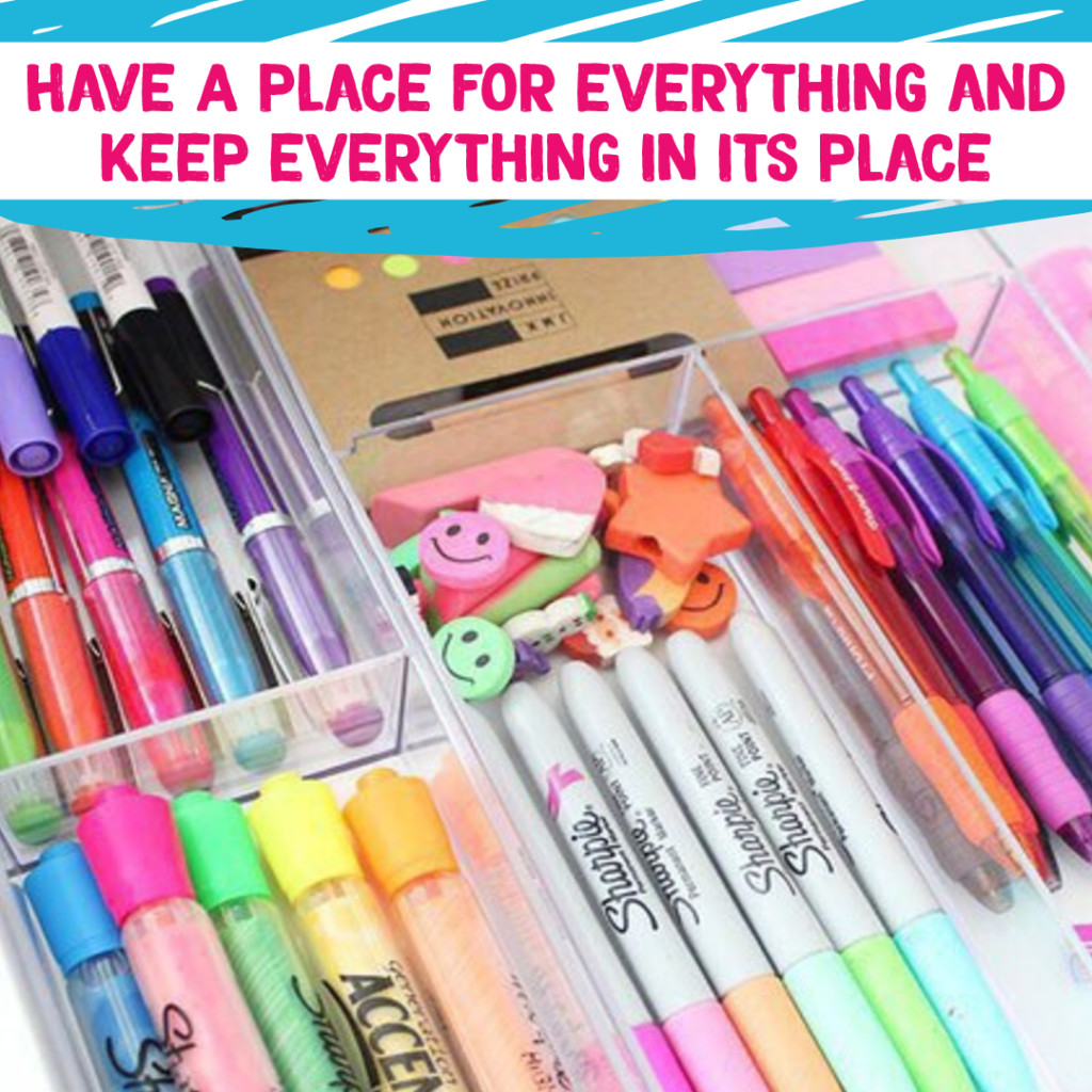 Desk Organization and Home Office Organization ideas - organize for everything to have a place to control clutter. Great tip for getting organized and staying organized