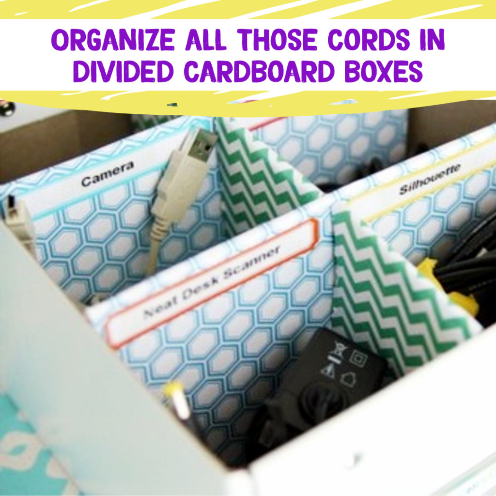 Desk Organization and Home Office Organization ideas - declutter and organize electronics cords with DIY box organizers