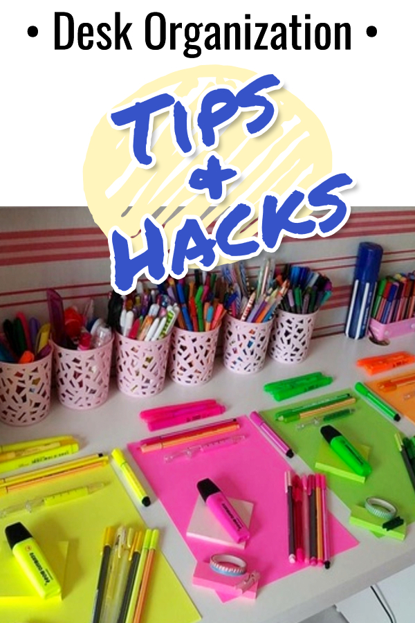 Desk organization tips, hacks and ideas for organizing your home office desk drawer, your dorm room desk, or ANY desk drawers!