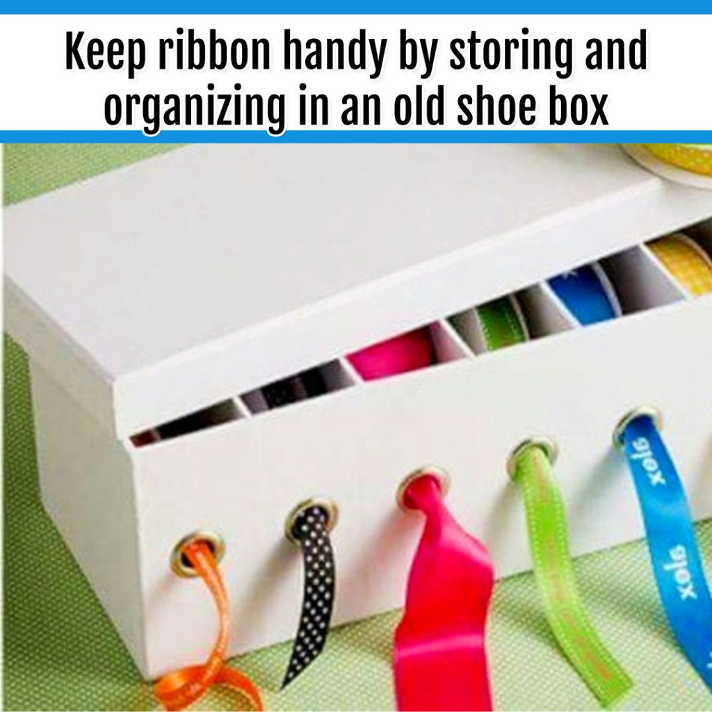 Organize Wrapping Supplies and Wrapping Paper - Organization Ideas: use old boxes to organize wrapping ribbon and craft ribbon. great way to repurpose old boxes