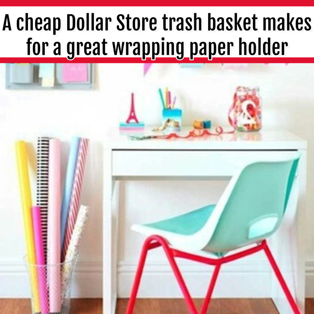 Organize Wrapping Supplies and Wrapping Paper - Organization Ideas: use a cheap dollar store waste basket to organize wrapping paper