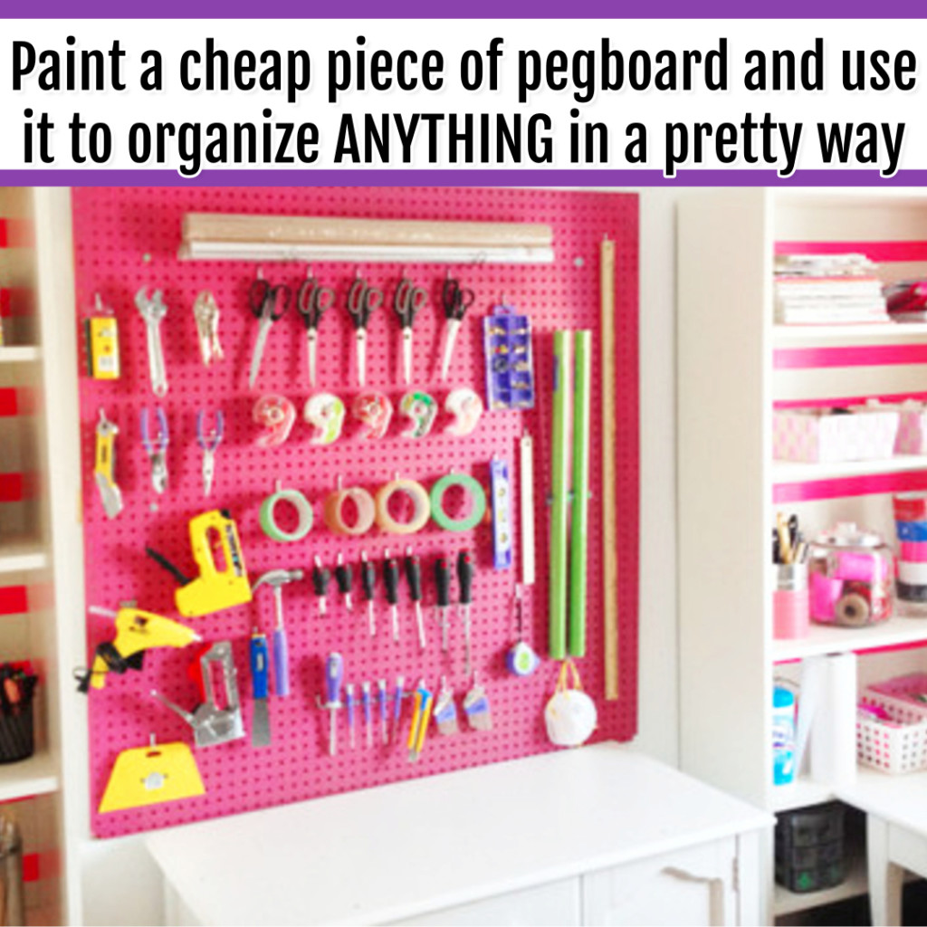 Organize Wrapping Supplies and Wrapping Paper - Organization Ideas: paint cheap pegboard to make a wrapping paper and wrapping supplies organization area