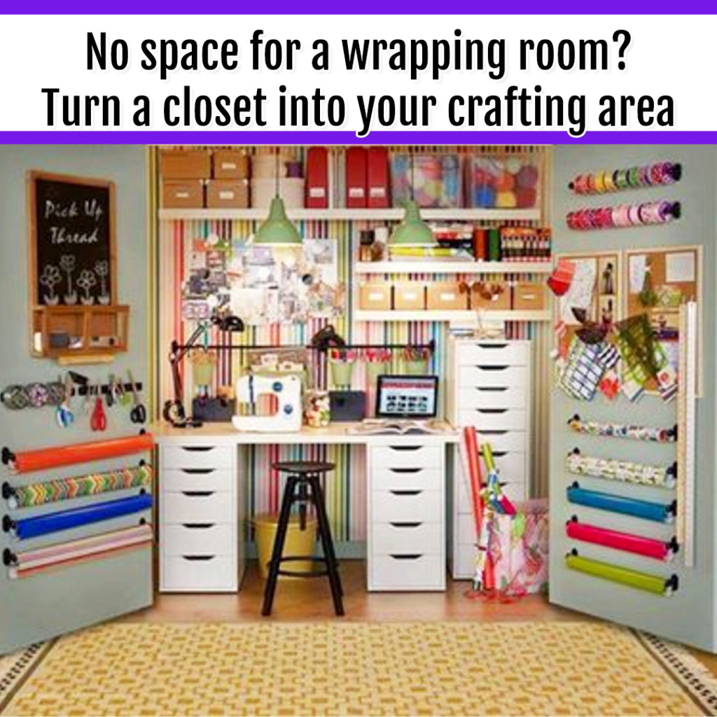 Organize Wrapping Supplies and Wrapping Paper - Organization Ideas: no room for a craft ROOM or wrapping room? convert a closet into your wrapping supplies organization area