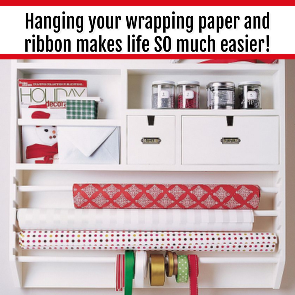 Organize Wrapping Supplies and Wrapping Paper - Organization Ideas: a wall rack is perfect for organizing wrapping supplies