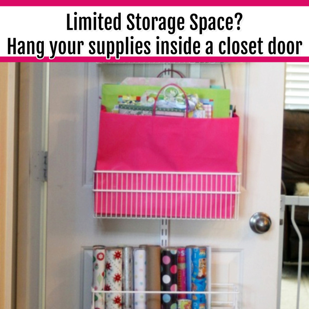 Organize Wrapping Supplies and Wrapping Paper - Organization Ideas: short of storage spaces? use a cheap over the door organizer for wrapping paper organization