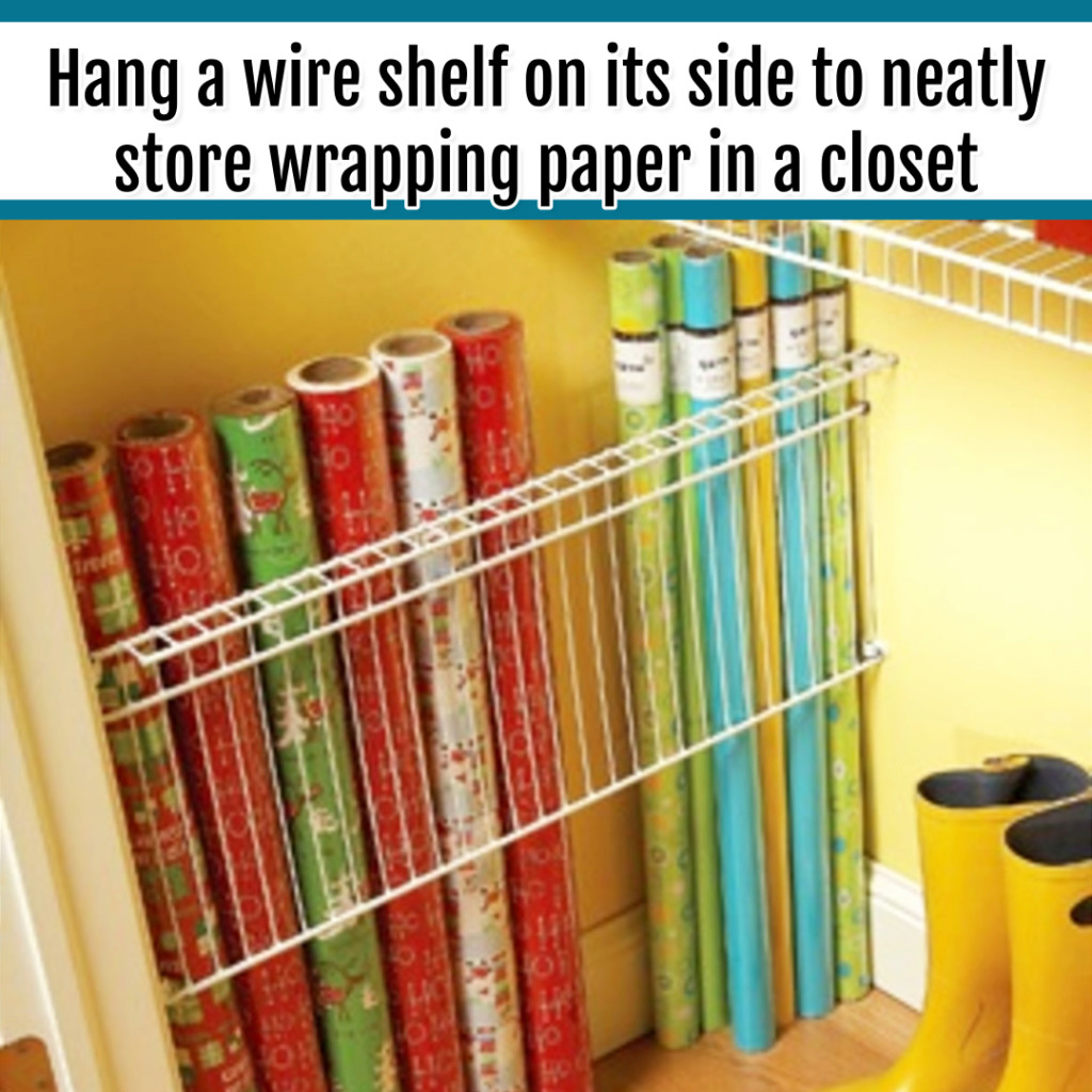 Organize Wrapping Supplies and Wrapping Paper - Organization Ideas: BRILLIANT life hack - turn a wire shelf on its side for closet organization of wrapping paper
