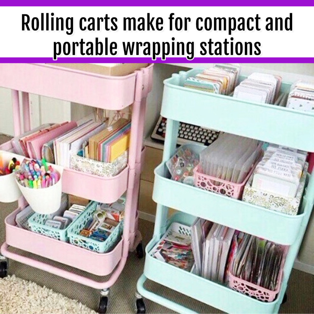 Organize Wrapping Supplies and Wrapping Paper - Organization Ideas: rolling carts make for a PERFECT portable and CHEAP wrapping supplies organizer