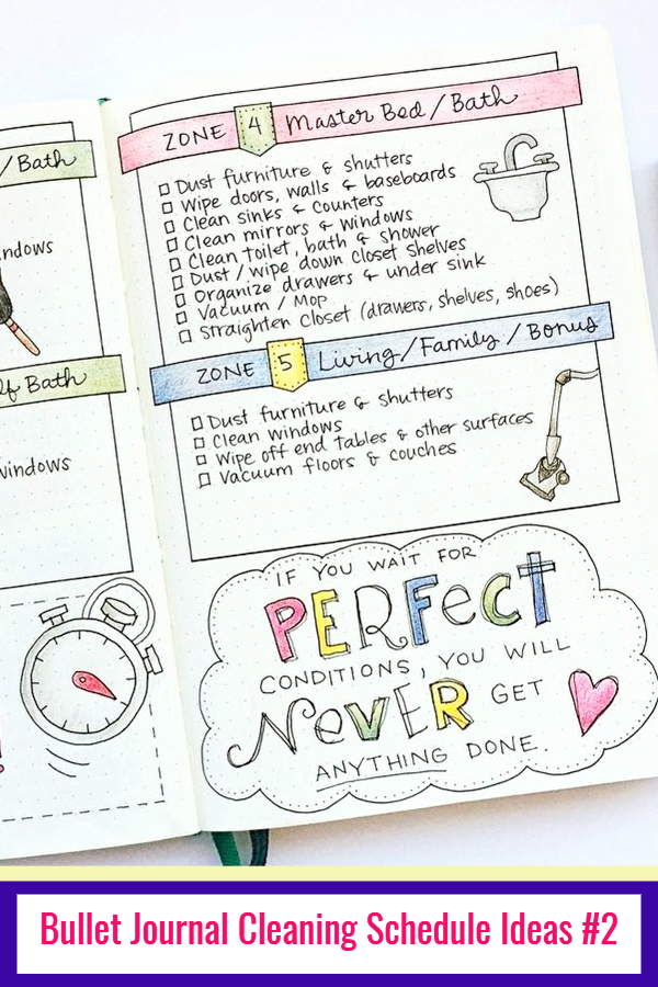 Bullet Journal Cleaning Schedule Ideas and PICTURES - LOVE these bullet journal ideas for keeping track of my cleaning checklists and my hoe maintenance needs to keep my home clean and organized WITHOUT feeling overwhelmed!