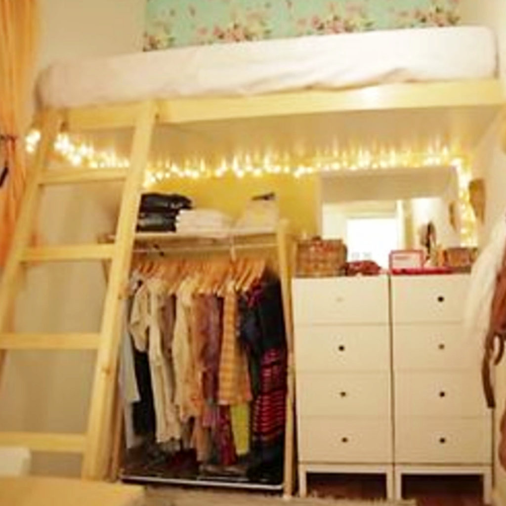 Space Saving Dorm Room Ideas for more storage space in small dorm rooms