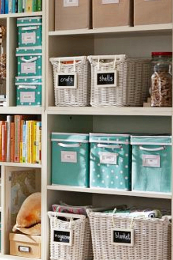 Organizing with baskets - craft room
