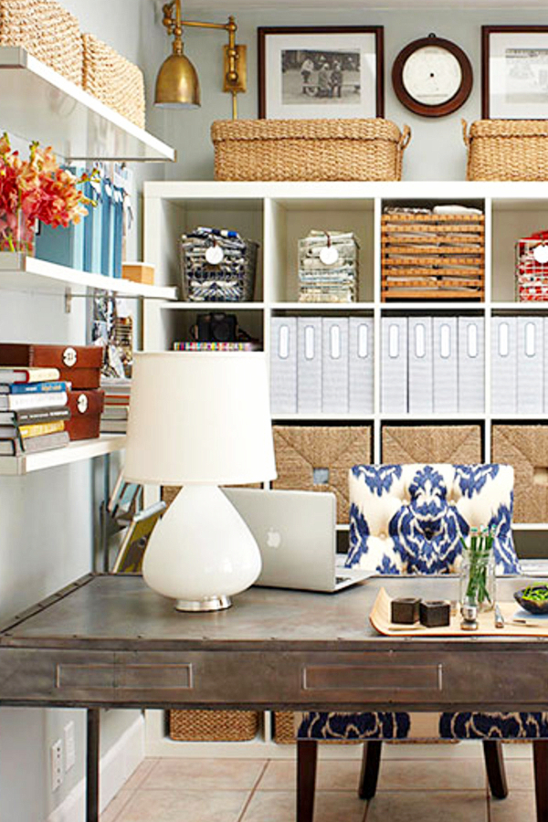 Organizing with baskets - home office