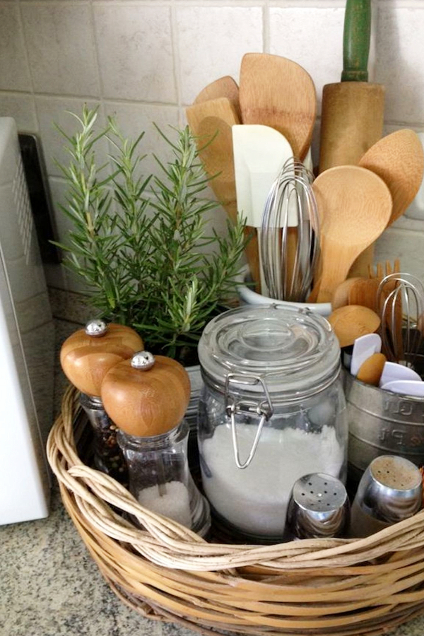 Organizing with baskets - kitchen counters countertop