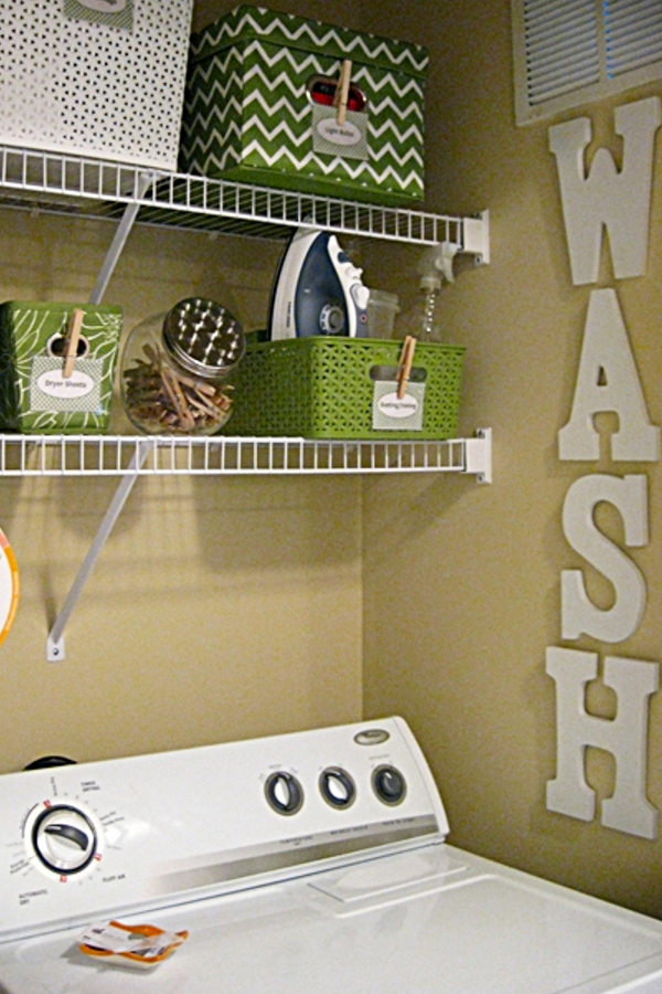 Organizing with baskets - laundry room