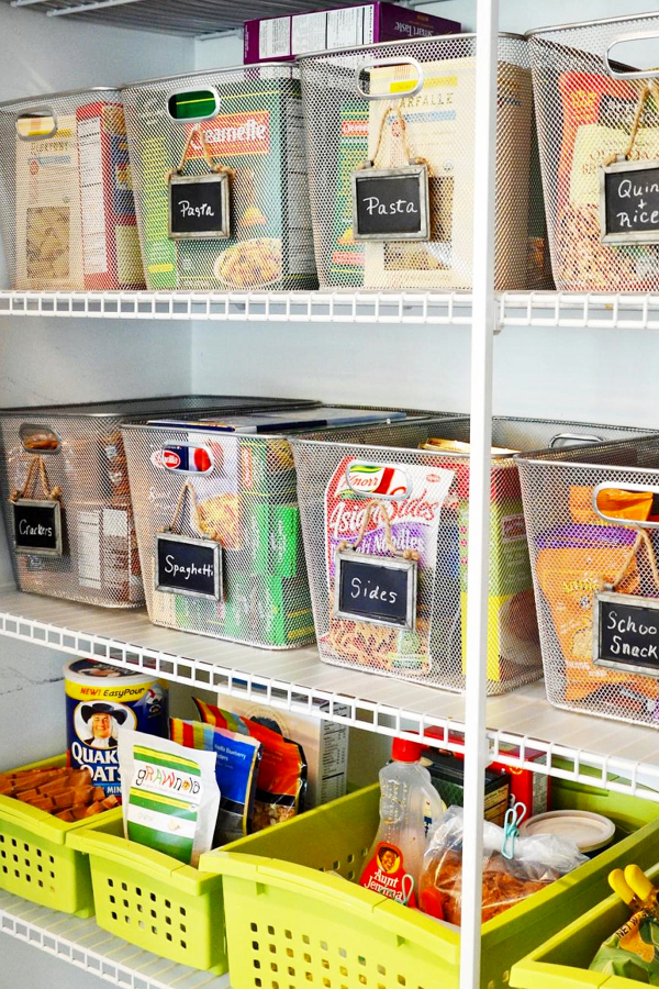 Organizing with baskets - pantry