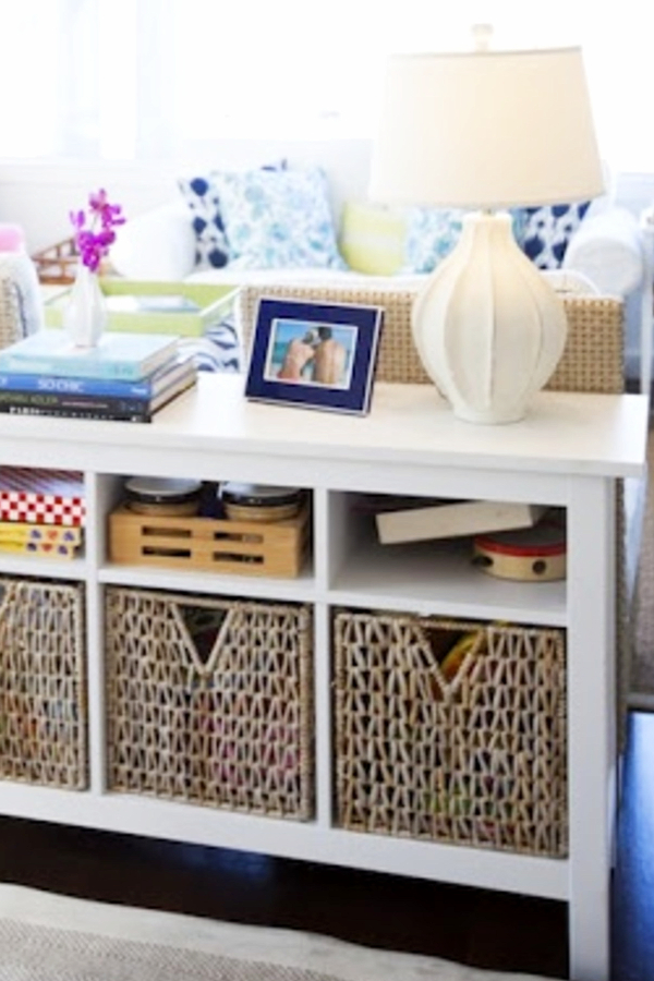 Organizing with baskets in a small living room