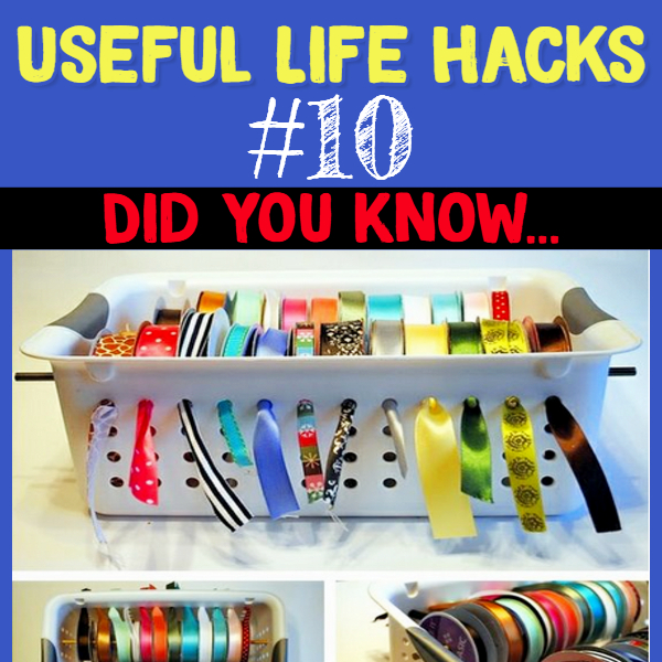 DIY ribbon dispenser to keep your ribbon organized and clutter-free. Useful life hacks to make life easier - household hacks... MIND BLOWN!
