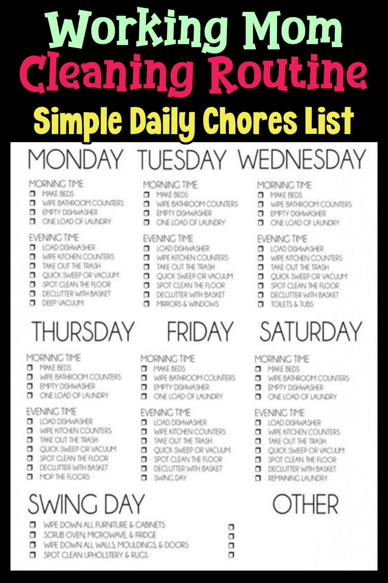 Working mom cleaning routine and cleaning schedule for working moms or working parents - simple daily chores to do each day and each night to keep your house cleaning - easy cleaning schedules for busy moms - printable cleaning schedule, cleaning checklists and cleaning routines