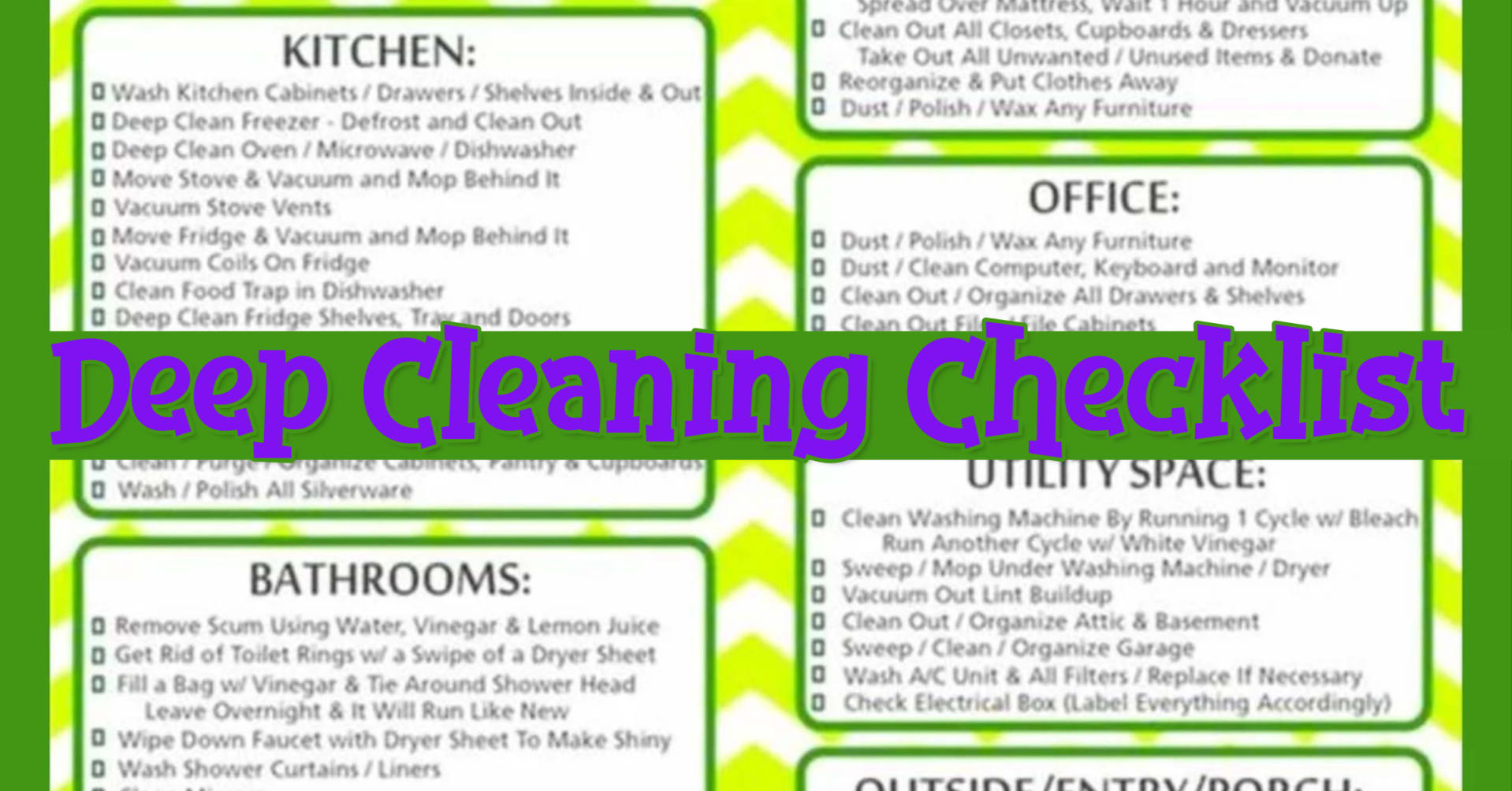 Deep cleaning your house checklist and list of chores to deep clean your home