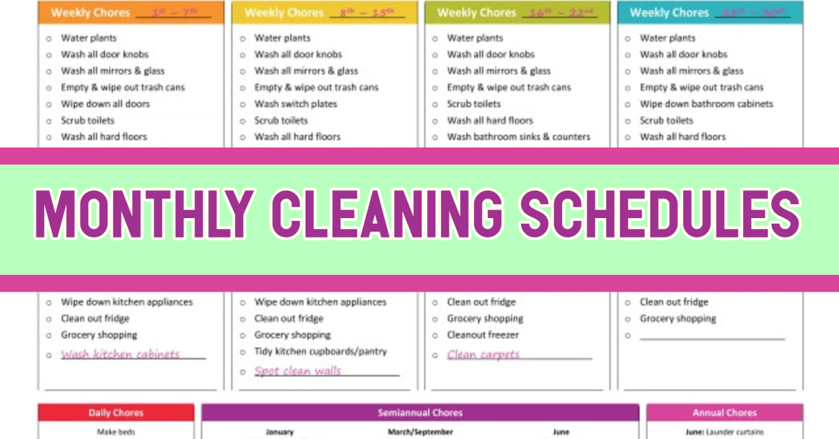 House Cleaning Schedules & Checklists-Daily, Weekly ...