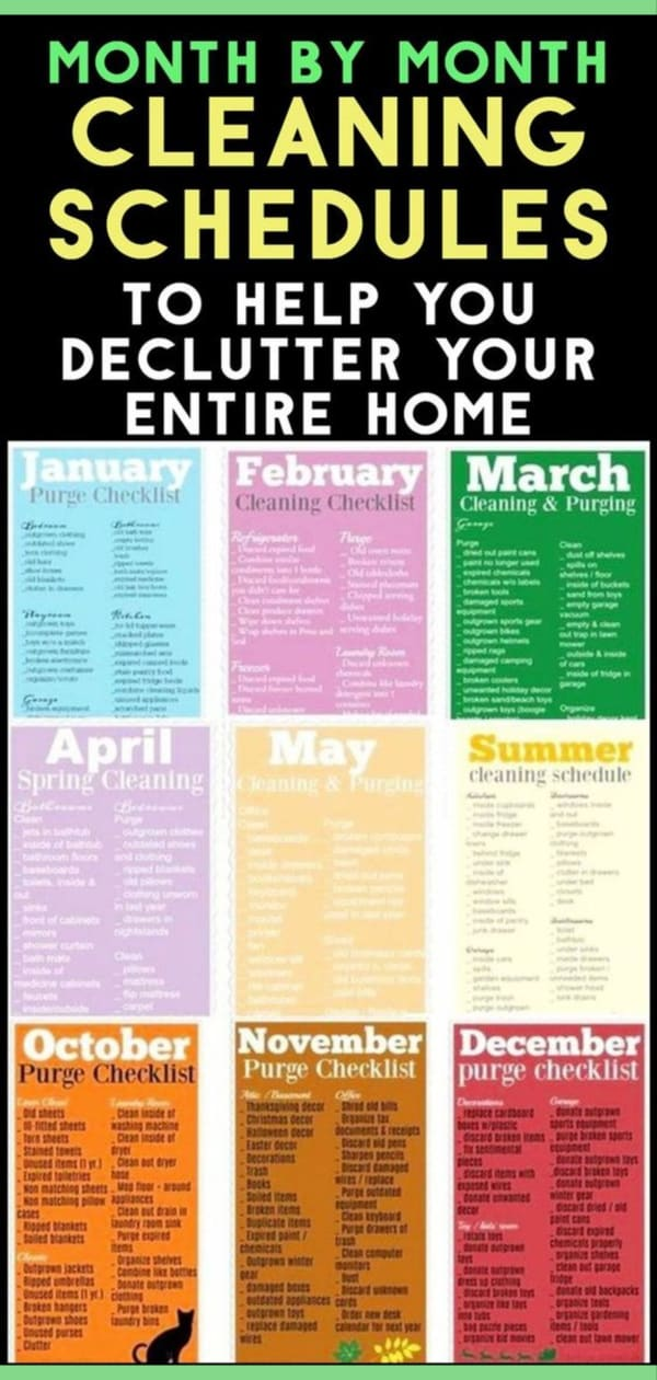 Monthly Cleaning Schedule - printable monthly cleaning checklist pdf, working womens housekeeping schedule, house cleaning charts to schedule daily weekly monthly pdf checklist, free pdf template, family, easy house cleaning schedule routine, household chores, housekeeping schedules and checklists