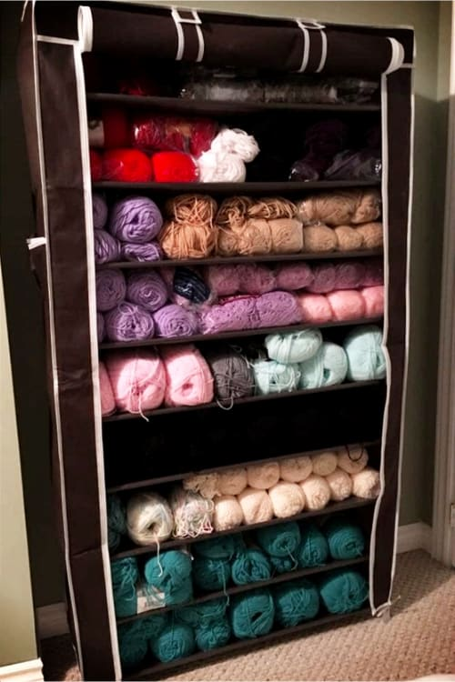 Craft Sewing or Knitting Room Yarn Organizer Shelves - Brilliant and CHEAP craftroom organizing ideas for getting organized on a budget