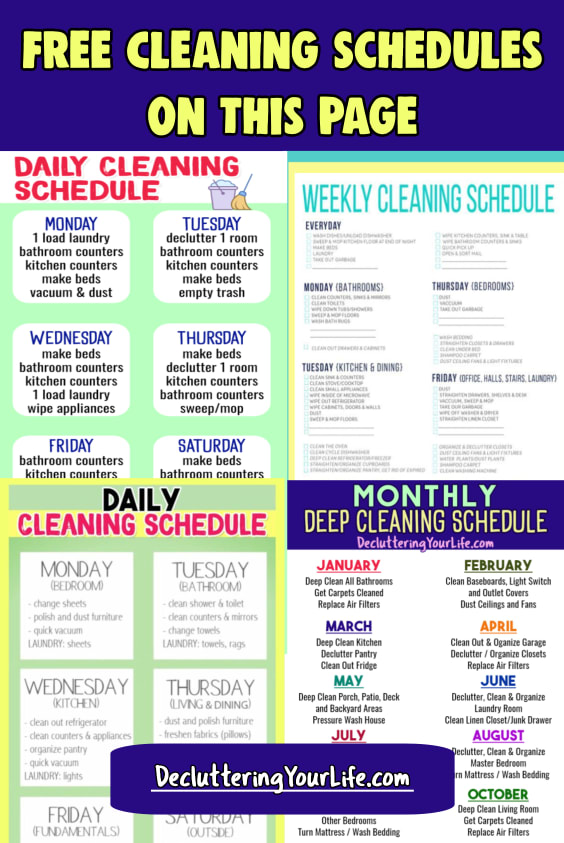 Weekly Cleaning Schedule - Free Cleaning Schedule Checklists for daily cleaning, weekly cleaning and monthly cleaning your home