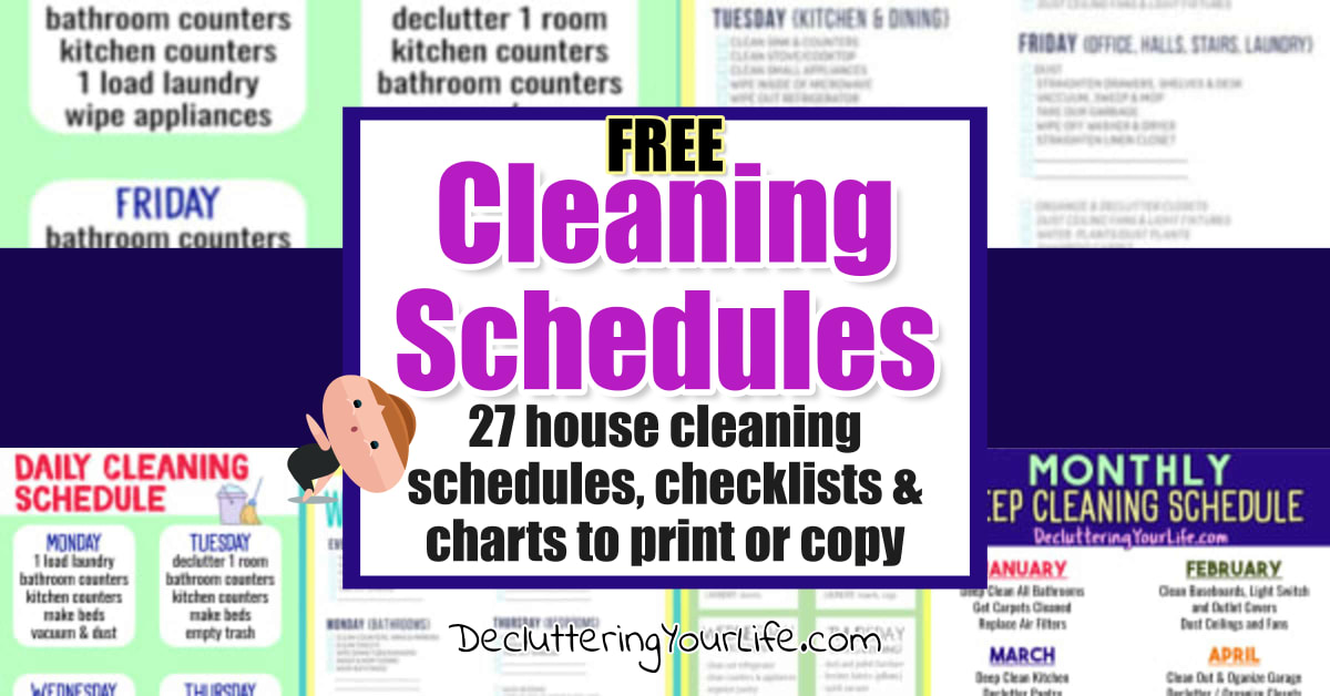 Cleaning Schedule Printable Checklists, House Cleaning Charts and Cleaning Schedules. Daily, monthly, weekly printable cleaning checklist pdf templates