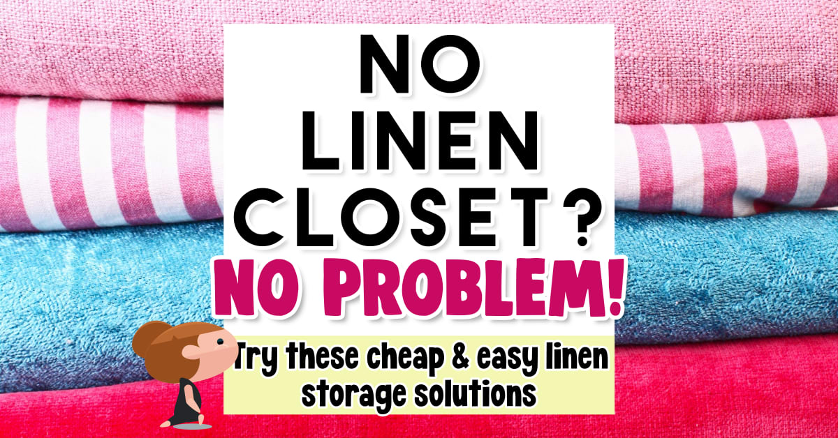 No linen closet ideas and linen storage solutions. These linen closet alternatives are perfect to fake a linen closet when your house or apartment doesn't HAVE a linen closet in the bathrooms, hallway, master bathroom or laundry room