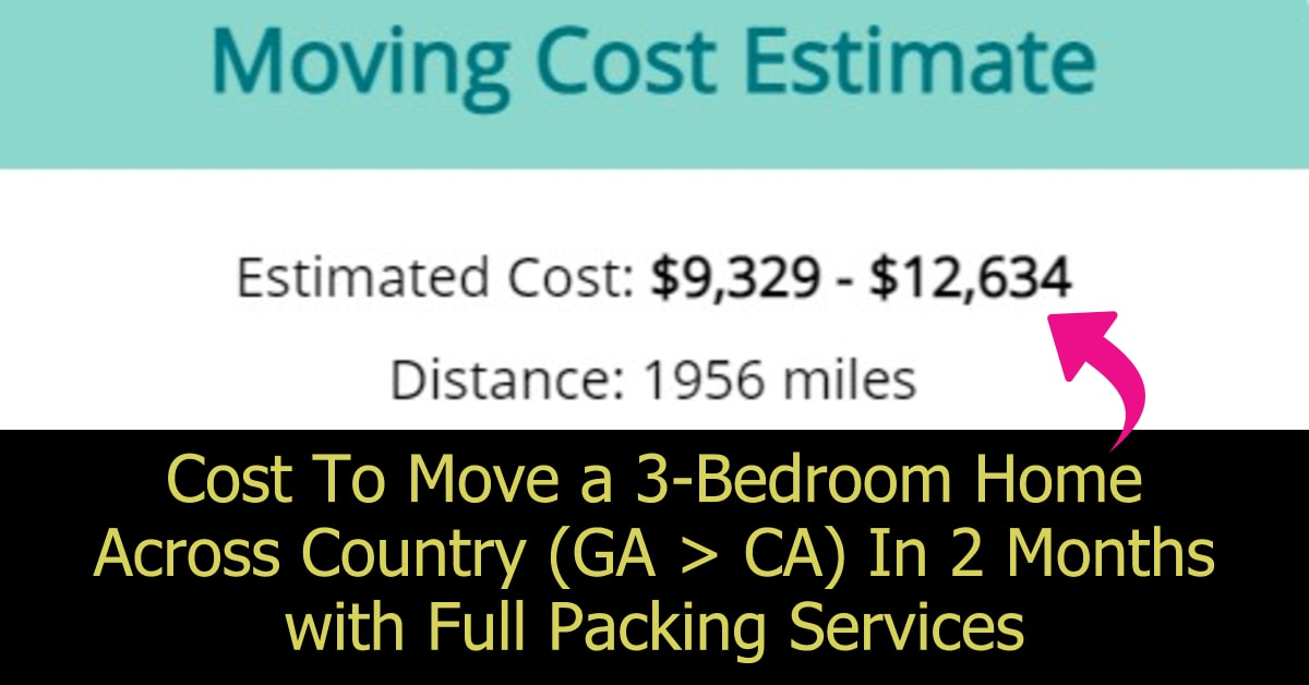 Approximate Moving Cost Calculator estimate to move 3 bedroom home across country (about 2,000 sq ft house). Moving companies costs are expensive - that's why you need to know what NOT to take when moving long distance